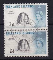 Falkland Is: 1960/66   QE II - Birds   SG195    2d    Black & Blue    Used Pair - Falkland
