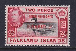 Falkland Islands Dep: 1944/45   KGVI - 'South Shetlands' OVPT  SG D3   2d    MH - Falkland Islands