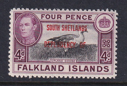 Falkland Islands Dep: 1944/45   KGVI - 'South Shetlands' OVPT  SG D5   4d    MH - Falkland Islands