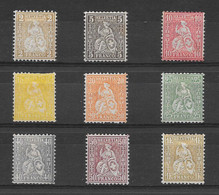 Suisse N°49 à/to 57 9 TP Helvetia Assise 1881 * - Ongebruikt