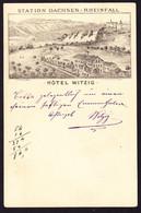 1887 Gelaufene 5 Rp Ganzsachen Karte, Minim Bügig, Mit Hotel Witzig Reklame Zudruck. Station Dachsen-Rheinfall - Enteros Postales