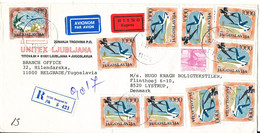 Yugoslavia Registered Express Cover Sent To Denmark Beograd 11-7-1988 With A Lot Of Stamps - Lettres & Documents