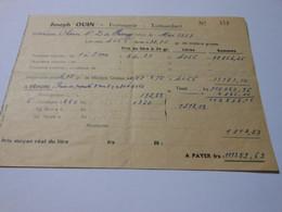 T280 - Facture De La Fromagerie Joseph Ouin à Tortisambert Calvados - Invoices
