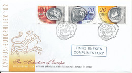Cyprus Republic FDC 22-10-2002 Stamp Exhibition Europhilex 02 With Cachet Not Complete - Cartas
