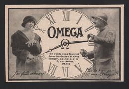 Pub Papier 1918 Montre OMEGA Montres Chronometre Horlogerie Horloger Bienne SUISSE - Advertising