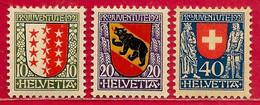 Suisse N°185 à/to 187 Pro-Juventute 1921 Armoirie Blason * - Nuovi