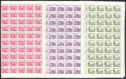 ** 1953 Épületek II. Sor Hajtott 100-as ívekben, 10f Kivételével Kis Képméretben (min. 735.000) (60f Fogelválás, Hiányos - Non Classificati