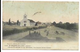 33-ST-ANTOINE-SUR-L'ISLE- L'Eglise St-Antoine Et Les Pâturages, Vue Prise De L'ancien Château...1910  Animé - Other Municipalities