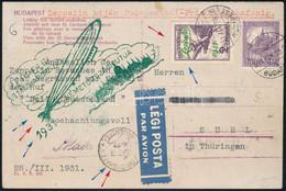1931 Zeppelin Magyarország - Németországi útja Képeslap Budapest - Friedrichshafen - Suhl - Non Classificati