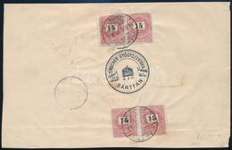 """1896 Dec. 31. 5. Súlyfokozatú Ajánlott Levél 4 X 15kr Bérmentesítéssel """"BÁRTFA"""" Svájcba Küldve RRR! (kis Szakadás A Borí - Non Classificati"""