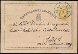 """1870 Díjjegyes Levelezőlap / PS-card Kék/blue """"SZILAS-BALHÁS"""" - Pesth (Gudlin 600 P) - Non Classificati"""