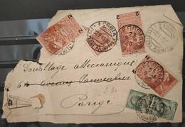 ITALIE - Fragment D'enveloppe Recommandée De 1920 De Foggia à Paris - N° 96 X Type I + 2 Type II - Storia Postale
