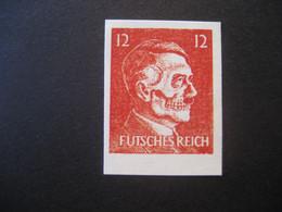 """Deutsches Reich Abart Propagandafälschung Der Mi. 78, Gesicht Hitlers Als Totenkopf, Inschrift Futsches Reich""""  MiNr. 17 - Plaatfouten En Curiosa"""