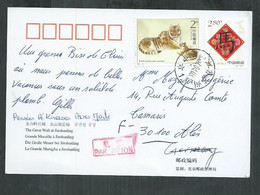 Chine. Timbres Sur Carte Postale, Tigre; Tiger, - Brieven En Documenten
