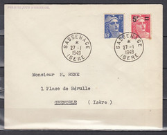 Brief Van Sassenage Isere Naar Grenoble (Isére) - Storia Postale