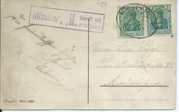 Postkarte Mit 2 X 5pf Germania - Zugstempel SOEST-EMDEN - Stempel Münster P.K. Geprüft Und Zu Befördern - Briefe U. Dokumente