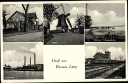 CPA Farge Rekum Blumenthal Bremen, Bahnhof, Gleisseite, Windmühle, Kraftwerk - Other