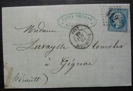 Bédarieux 1864 Casse Tradou Manufacture De Draps Unis Et Nouveautés Gc 412, Pour Gignac (Hérault) - 1849-1876: Période Classique