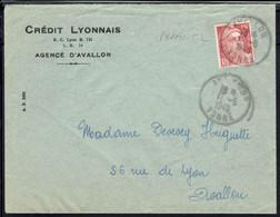 Fr - Crédit Lyonnais Agence D'Avallon - 15 F Marianne Perforée C L Sur Enveloppe En Ville 17-5-1949 - B/TB - - Perfins