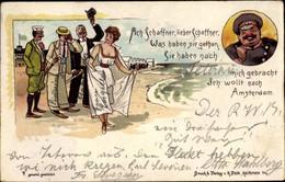 Lithographie Frau In Kleid Am Strand, Männer Winken Ihr Zu, Schaffner - Unclassified
