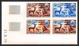 93160 Cote D'ivoire N°303 Onu/uno Lion Animals Animaux Bloc 4 Coin Daté Essai Proof Non Dentelé Imperf ** MNH - Felini