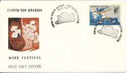 Cyprus Republic Cover Wine Festival Limasol 22-9-1967 - Cartas