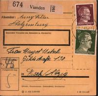 ! 1943 Luxemburg, Luxembourg , Paketkarte Aus Vianden Nach Esch , Deutsches Reich, 3. Reich - 1940-1944 Ocupación Alemana