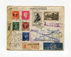 !!! LETTRE RECO PAR AVION D'AUBUSSON POUR NOUMEA DU 26/10/1944 AVEC CENSURES ET REEXPEDITION - Posta Aerea