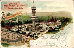 Lithographie Wuppertal In Nordrhein Westfalen, Elektrische Turmbahn, Sport- Und Spielplatz - Otros