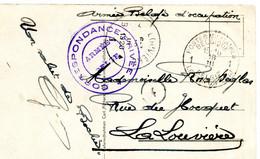 1920 Stempel Belgische Legerposterij 1 Op Kaart Ehrenbreitstein - Zie Verschillende Stempels - War 1914-18