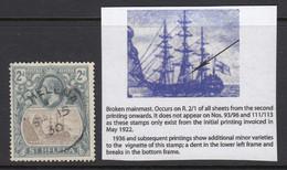 """St. Helena, SG 100a, Used (thin) """"Broken Mainmast"""" Variety - St. Helena"""