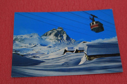 Aosta Cervinia Il Monte Cervino Matterhorn E La Funivia Con Motivo Di Montagna NV - Otras Ciudades