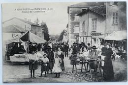 """C. P. A. : 01 AMBERIEUX EN DOMBES : Route De Châtillon, """"Graineterie"""", """"Epicerie"""", Animé - Otros Municipios"""