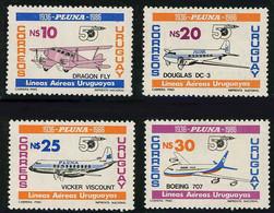 Uruguay 1986 PLUNA Douglas DC-3 DC3 De Havlland Dragon, Vickers Viscount, Boeing 707 ( YT 1217, SG Gibbons 1908) - Airplanes
