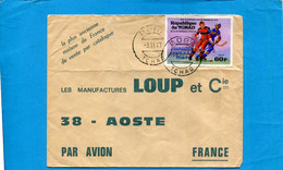 Marcophilie-lettre-TCHAD- >Françe-cad-DOBA-1977-thematic-  Stamps-N°308 Hockey Sur Glace -URSS Vainqueur Jo 1976 - Chad (1960-...)