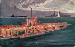 ! 1915 Seltene Ansichtskarte U-Boot, Submarine, Feldpost K.u.k. Kriegsmarine SMS Ulan Nach Salzburg, Marinefeldpost Pola - Sottomarini