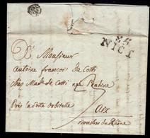 1804 Folded Letter To Aix-en-Provence. 85 NICI Mark In Black. - 1792-1815: Départements Conquis