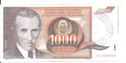 BOSNIE HERZEGOVINE 1000 DINARA ND1992 VF P 2 C - Bosnia And Herzegovina