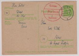 Behelfs-/Aufbrauchs-Not-GA,  P B05 (Aachen 1) Verwendet Wrist 30.10.45 - American/British Zone
