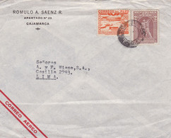 PERU. ROMULO A SAENZ. ENVELOPPE COMMERCIAL. CIRCULEE CAJAMARCA A LIMA. PAR AVION.- LILHU - Peru