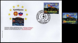 MACEDONIA NORTH 2021  MACEDONIA IN EU LJUBLJANA SLOVENIA FDC + MNH - Macedonia