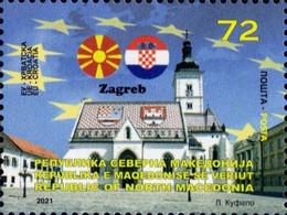 MACEDONIA NORTH 2021 MACEDONIA IN EU ZAGREB CROATIA MNH - Macedonia