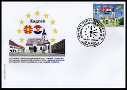 MACEDONIA NORTH 2021 MACEDONIA IN EU ZAGREB CROATIA FDC - Macedonia