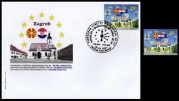 MACEDONIA NORTH 2021 MACEDONIA IN EU ZAGREB CROATIA FDC + MNH - Macedonia