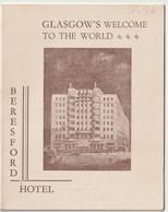 Petit Dépliant Publicitaire  Hôtel Beresford Glasgow (UK) - Reiseprospekte