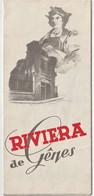 Dépliant Publicitaire Riviera De Gênes (Italie) Nervi Pegli Arenzano  4 Volets Recto Verso   1948 - Folletos Turísticos
