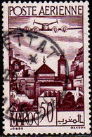 Maroc (Prot.Fr) Avion Obl Yv: 62 Mi:270 Remparts De Salé Moulay Idriss (TB Cachet Rond) - Airmail