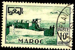 Maroc (Prot.Fr) Avion Obl Yv: 85 Mi:348 Rabat Remparts De Chella (TB Cachet Rond) - Airmail