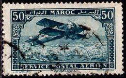 Maroc (Prot.Fr) Avion Obl Yv:  3 Mi 40 Yv:0,5 Euro Biplan Sur Casablanca (cachet Rond) - Airmail