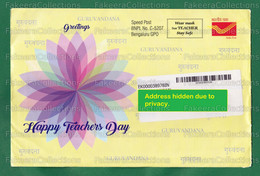 INDIA 2020 Inde Indien - COVID-19 TEACHER'S DAY GREETING SPECIAL METER FRANKING Slogan Used Cover - Bengaluru 05.09.2020 - Enfermedades